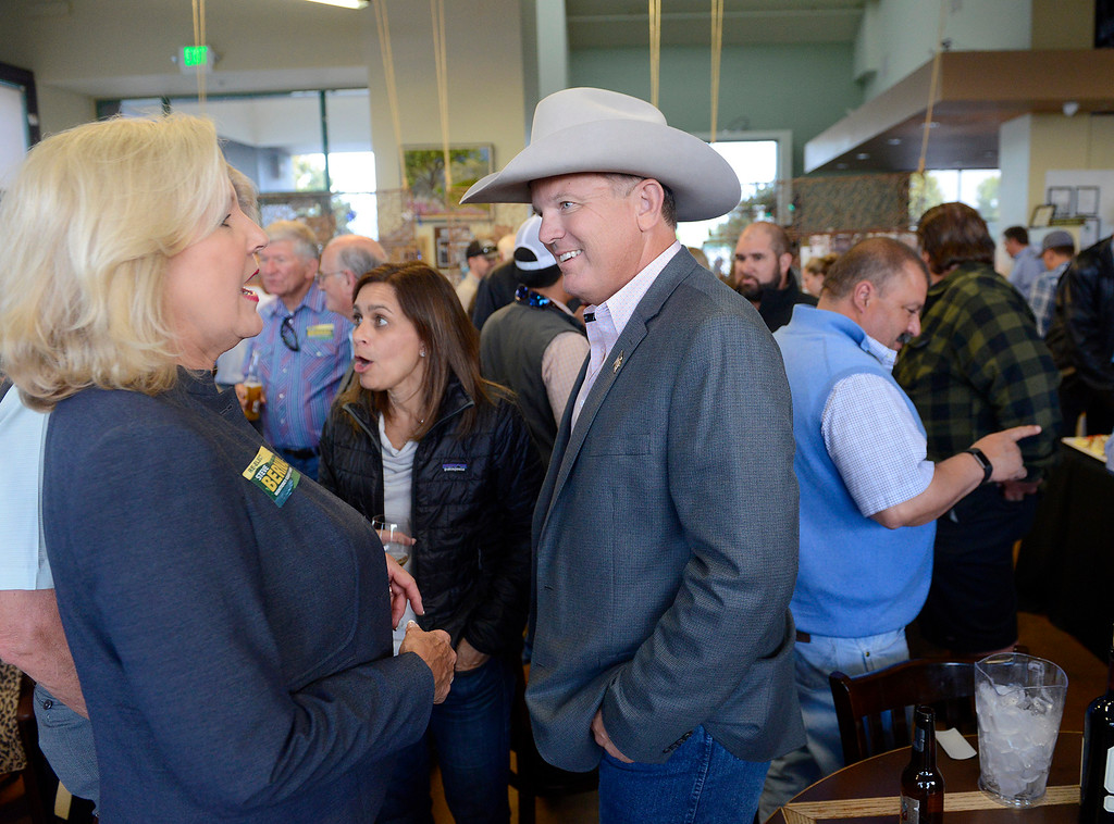 . Monterey County Sheriff Steve Bernal talks with supporters and friends at his reelection party in Salinas on Tuesday, June 5, 2018.  (Vern Fisher - Monterey Herald)