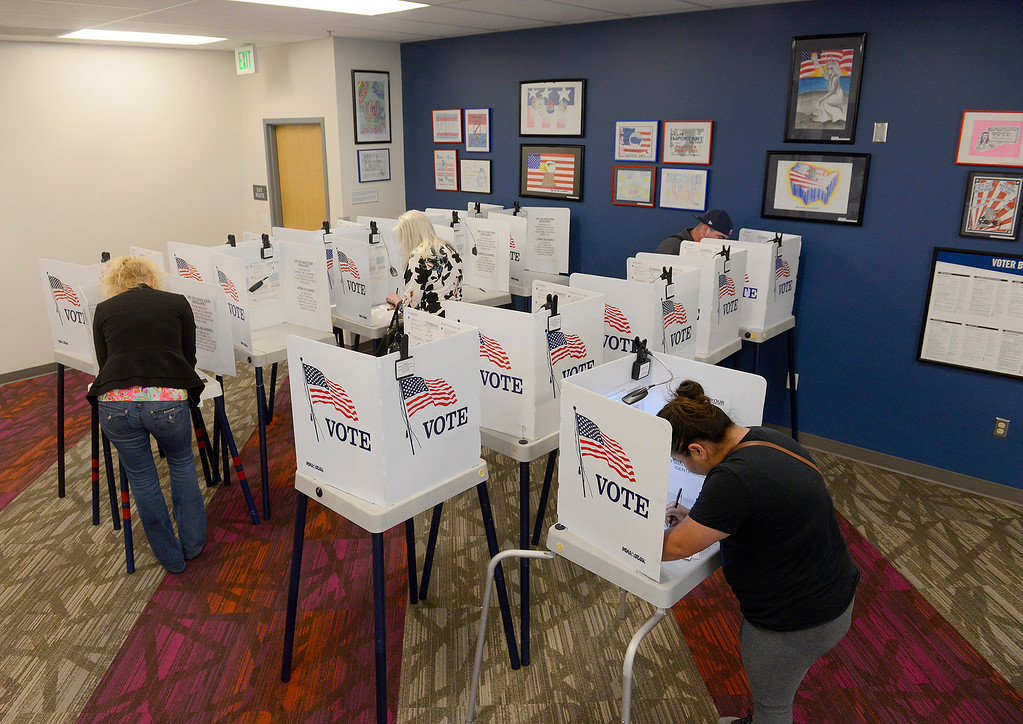 . People voting at the new Monterey County Election Department office in Salinas on Tuesday, June 5, 2018.  (Vern Fisher - Monterey Herald)