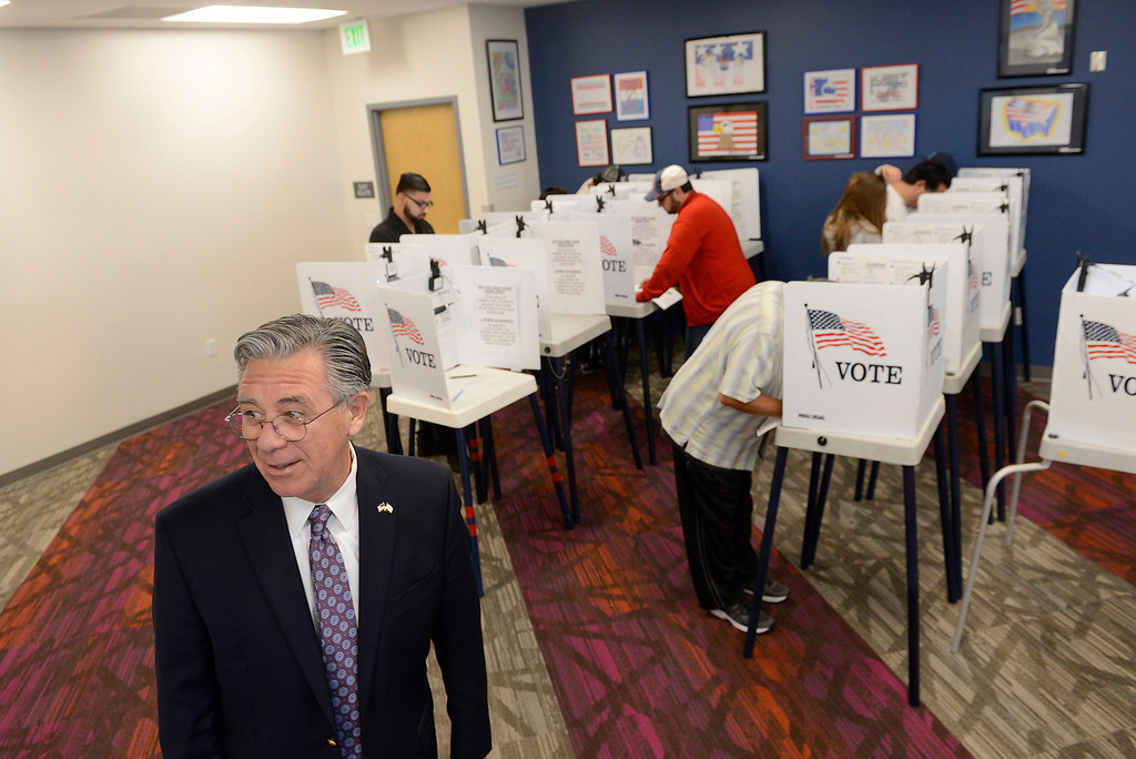 . Claudio Valenzuela, Monterey County registrar of voters with people voting at the new Monterey County elections headquarters in Salinas on Tuesday, June 5, 2018.  (Vern Fisher - Monterey Herald)