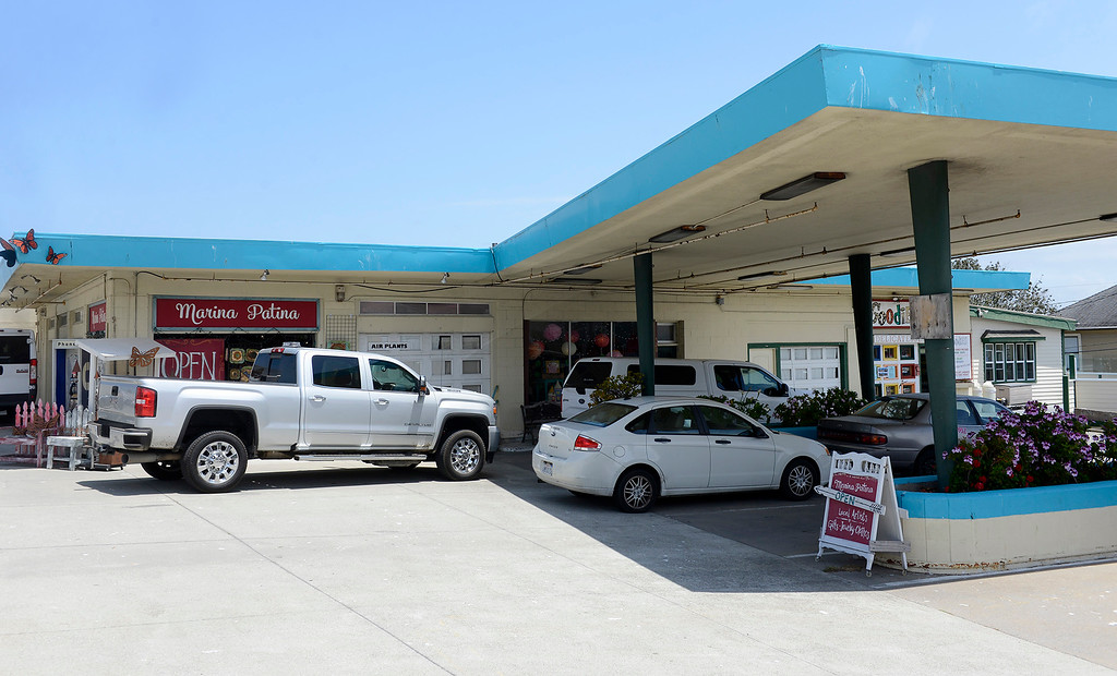 . Marina Patina and Goodies businesses at the old gas station on Lighthouse Avenue in Pacific Grove on Wednesday, June 6, 2018.  (Vern Fisher - Monterey Herald)
