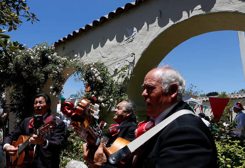 . Mariachi group Estrellas de Oro perform during La Merienda Celebration inside the Memory Garden at Custom House Plaza in Monterey on Saturday June 2, 2018. (David Royal/ Herald Correspondent)