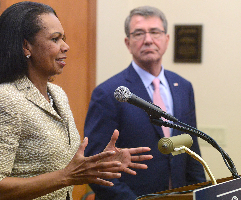 . Former Secretary of State Condoleezza Rice speaks beside former Secretary of Defense Ash Carter during a press conference prior to their discussion in the Panetta Institute for Public Policy at the Sunset Center in Carmel on Monday June 5, 2017.  (David Royal - Monterey Herald)