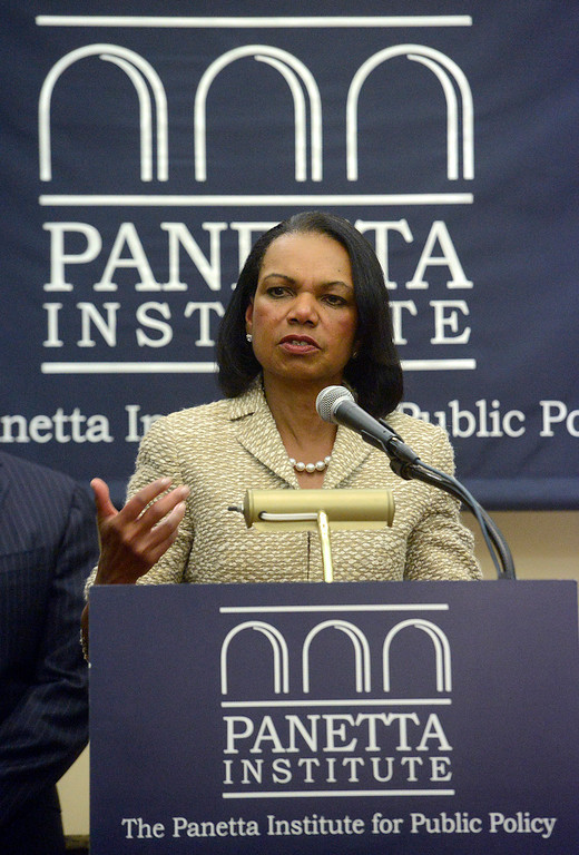 . Former Secretary of State Condoleezza Rice speaks during a press conference prior to their discussion in the Panetta Institute for Public Policy at the Sunset Center in Carmel on Monday June 5, 2017.  (David Royal - Monterey Herald)