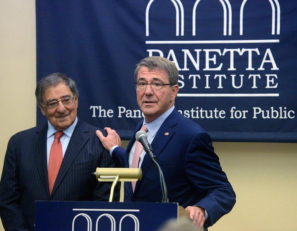 . Former Secretary of Defense Ash Carter speaks beside former Secretary of Defense and CIA Director Leon Panetta during a press conference prior to their discussion in the Panetta Institute for Public Policy at the Sunset Center in Carmel on Monday June 5, 2017.  (David Royal - Monterey Herald)