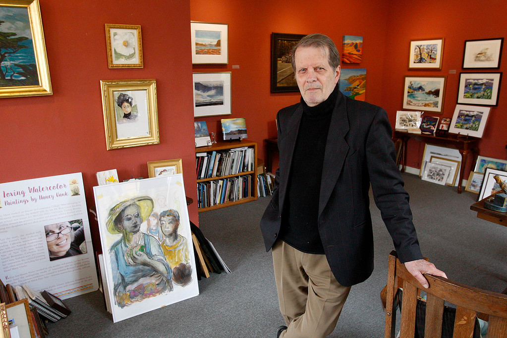. Steve Hauk in his gallery in Pacific Grove on Friday, June 2, 2017.  Hauk is writing a new book on John Steinbeck with illustartions by artist C. Kline.  (Vern Fisher - Monterey Herald)