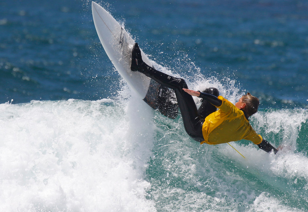 . Dayson Keller competes in the Junior Finals during the 37th annual Sunshine Freestyle Surfabout at Carmel Beach on Sunday, June 4, 2017 in Carmel By The Sea, Calif. (Vernon McKnight/Herald Correspondent)
