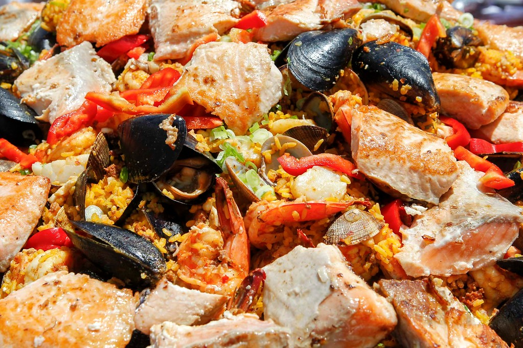 . Paella, a Spanish rice dish, is pictured before serving during 2017 La Merienda and the celebration of Montery\'s 247th birthday in the Memory Garden at the Custom House Plaza Saturday, June 3, 2017 in Monterey, Calif. (Vernon McKnight/Herald Correspondent)