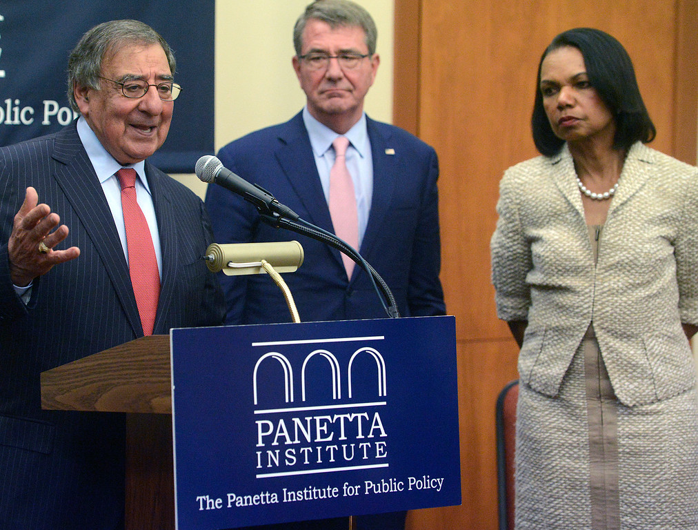 . Former Secretary of Defense and CIA Director Leon Panetta speaks beside former Secretary of Defense Ash Carter and former Secretary of State Condoleezza Rice during a press conference prior to their discussion in the Panetta Institute for Public Policy at the Sunset Center in Carmel on Monday June 5, 2017.  (David Royal - Monterey Herald)