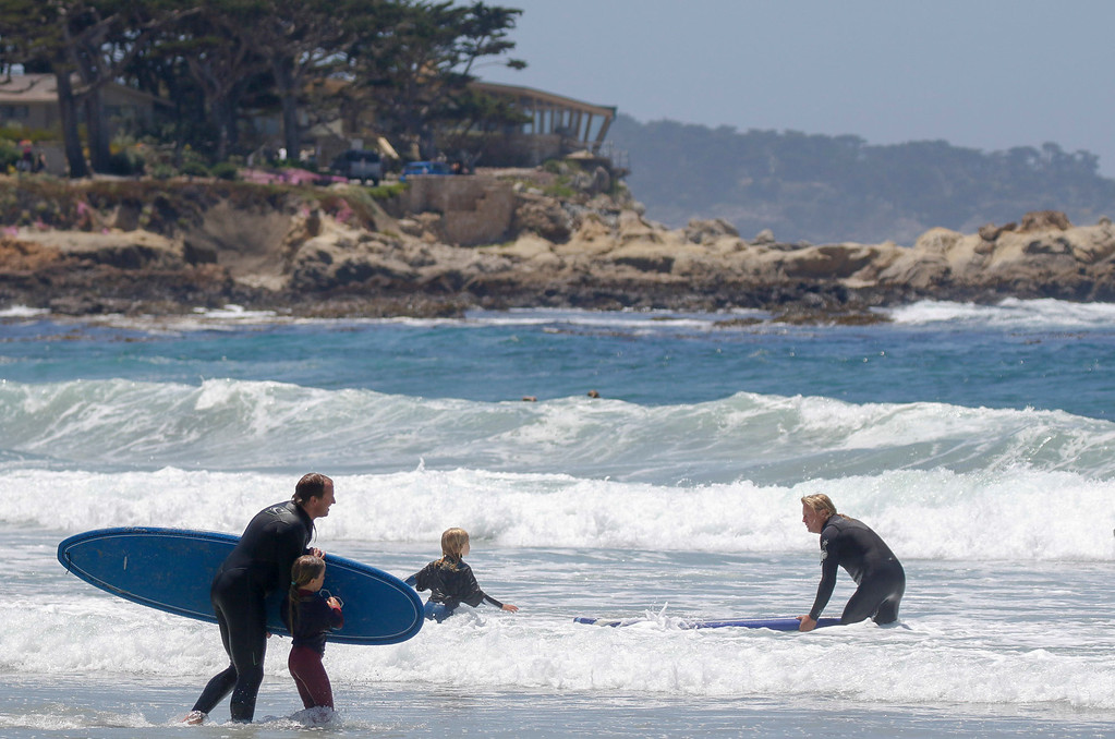 . Super Groms take to the sea under supervision during the 37th annual Sunshine Freestyle Surfabout at Carmel Beach on Sunday, June 4, 2017 in Carmel By The Sea, Calif. (Vernon McKnight/Herald Correspondent)