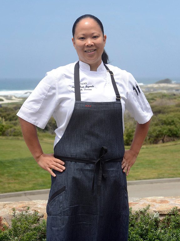 . Chef Anna Marie Bayonito stands on the back deck at Sticks Restaurant at The Inn at Spanish Bay in Pebble Beach on Monday June 5, 2017.  (David Royal - Monterey Herald)