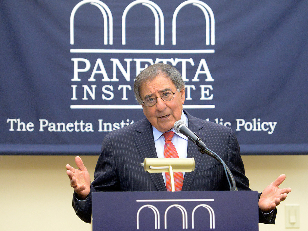 . Former Secretary of Defense and CIA Director Leon Panetta speaks during a press conference prior to their discussion with former Secretary of Defense Ash Carter and former Secretary of State Condoleezza Rice in the Panetta Institute for Public Policy at the Sunset Center in Carmel on Monday June 5, 2017.  (David Royal - Monterey Herald)