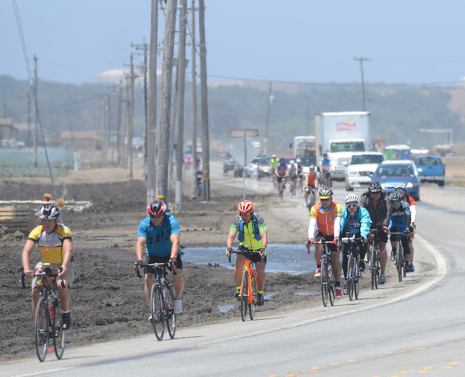 . AIDS/ LifeCycle bicycle riders roll into Salinas on Blanco Road for their lunch break in Central Park on Monday June 5, 2017. The second leg of the 7-day ride from San Francisco to Los Angeles to raise money for AIDS takes the 2,200 riders on a 109 mile journey from Santa Cruz to King City.  (David Royal - Monterey Herald)
