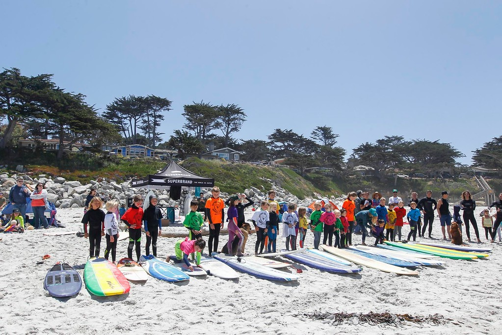 . Super Groms line up in front of their boards during the 37th annual Sunshine Freestyle Surfabout at Carmel Beach on Sunday, June 4, 2017 in Carmel By The Sea, Calif. (Vernon McKnight/Herald Correspondent)