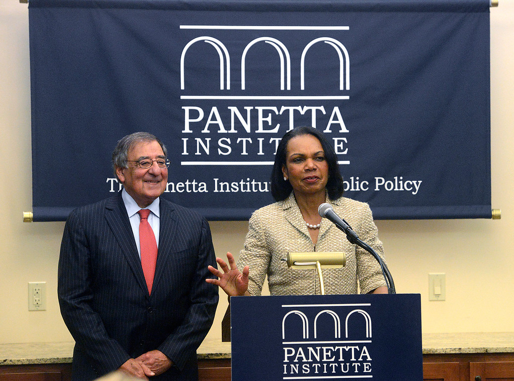 . Former Secretary of State Condoleezza Rice speaks beside former Secretary of Defense and CIA Director Leon Panetta during a press conference prior to their discussion in the Panetta Institute for Public Policy at the Sunset Center in Carmel on Monday June 5, 2017.  (David Royal - Monterey Herald)