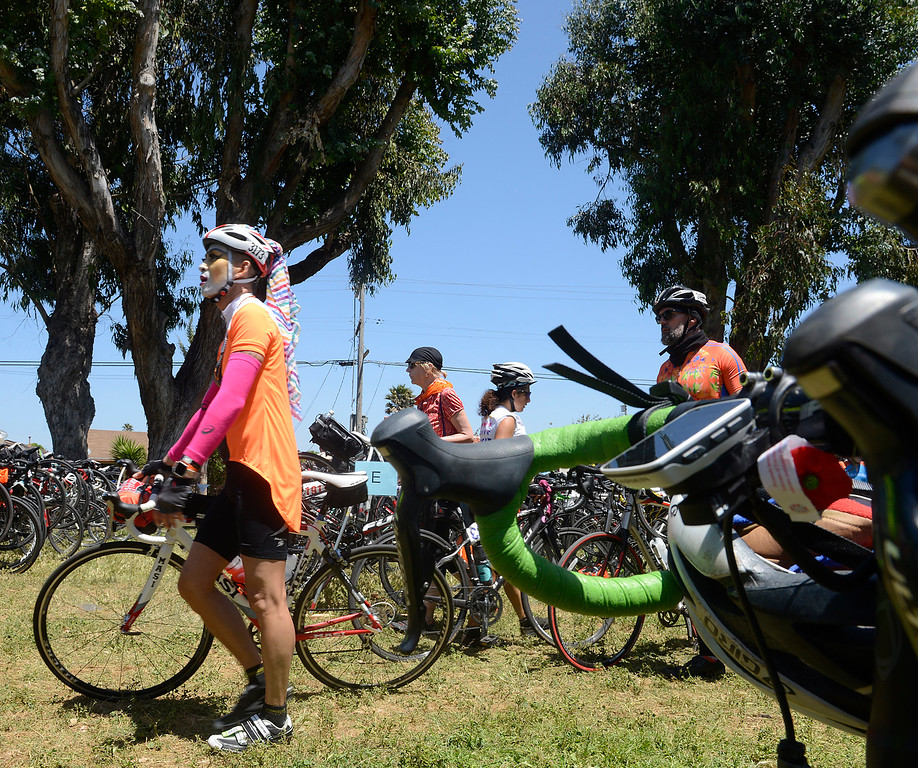 . AIDS/ LifeCycle bicycle rider Sister Fancy Pants arrives in Central Park in Salinas on Monday June 5, 2017. The second leg of the 7-day ride from San Francisco to Los Angeles to raise money for AIDS takes the 2,200 riders on a 109 mile journey from Santa Cruz to King City.  (David Royal - Monterey Herald)