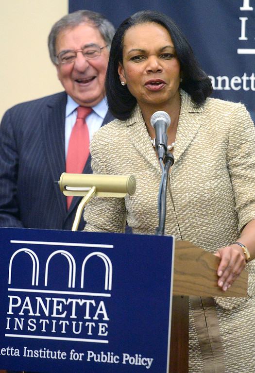 . Former Secretary of State Condoleezza Rice jokes with former Secretary of Defense and CIA Director Leon Panetta during a press conference prior to their discussion in the Panetta Institute for Public Policy at the Sunset Center in Carmel on Monday June 5, 2017.  (David Royal - Monterey Herald)