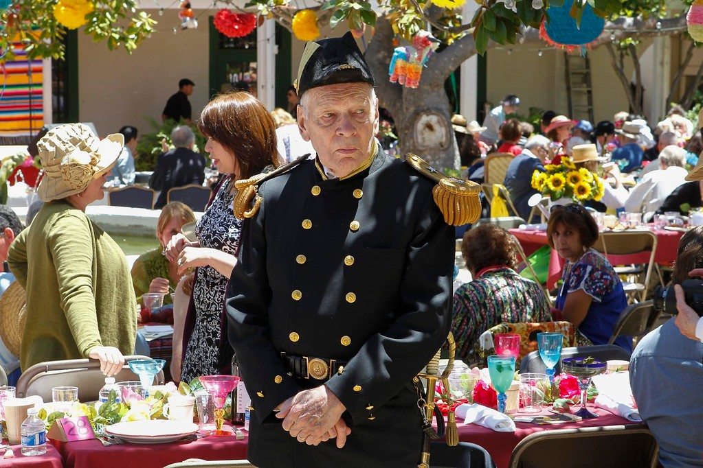 . Hersch Loomis, dressed as Commodore Sloat, looks on during 2017 La Merienda and the celebration of Montery\'s 247th birthday in the Memory Garden at the Custom House Plaza Saturday, June 3, 2017 in Monterey, Calif. (Vernon McKnight/Herald Correspondent)