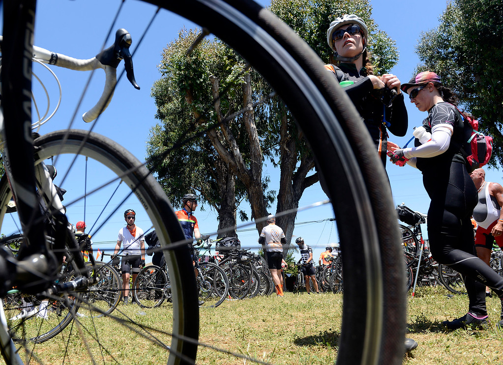 . AIDS/ LifeCycle bicycle riders arrive and head out at their lunch break site at Central Park in Salinas on Monday June 5, 2017. The second leg of the 7-day ride from San Francisco to Los Angeles to raise money for AIDS takes the 2,200 riders on a 109 mile journey from Santa Cruz to King City.  (David Royal - Monterey Herald)