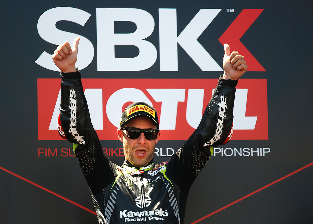 . Kawasaki Racing Teams Jonathan Rea of Great Britain celebrates after winning Race 2 of the Superbike World Championship at Laguna Seca Raceway in Monterey on Sunday June 24, 2018. (David Royal/ Herald Correspondent)