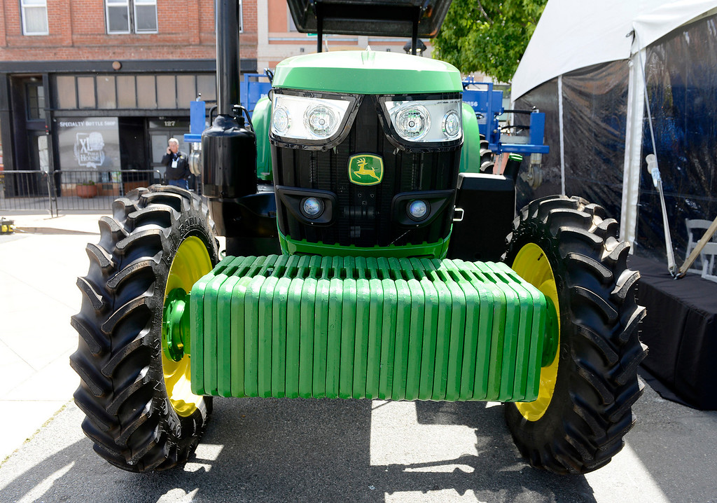 . A large tractor at The Forbes AgTech Summit in Salinas on Thursday, June 29, 2017.  (Vern Fisher - Monterey Herald)