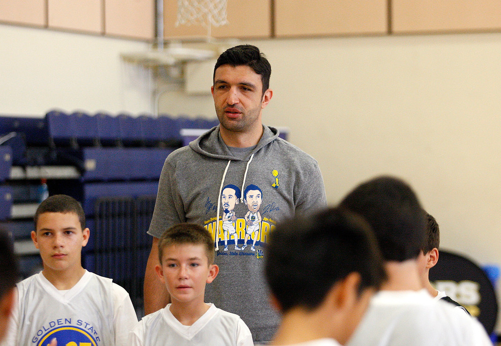 . Zaza Pachulia with participants at the Warriors overnight camp featuring current Warriors players Zaza Pachulia and Shaun Livingston at CSU Monterey Bay on Thursday, June 29, 2017.  (Vern Fisher - Monterey Herald)