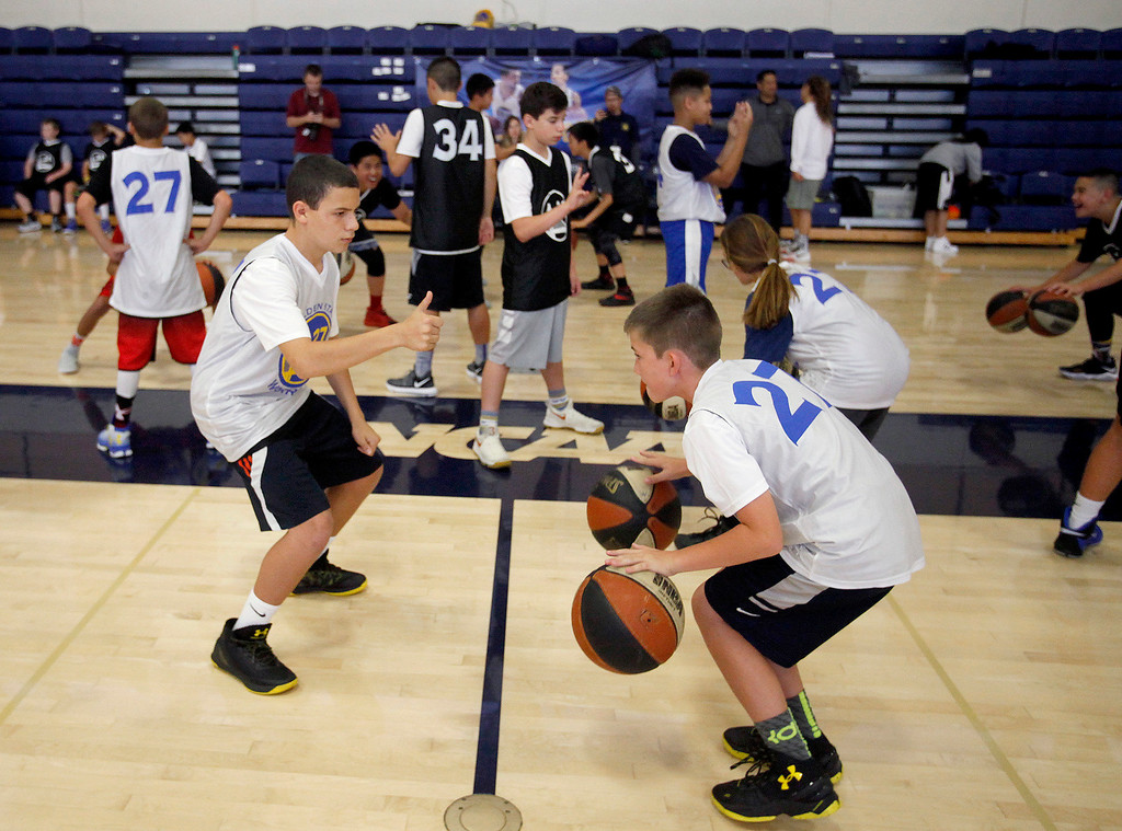 . Participants at the Warriors overnight camp featuring current Warriors players Zaza Pachulia and Shaun Livingston at CSU Monterey Bay on Thursday, June 29, 2017.  (Vern Fisher - Monterey Herald)