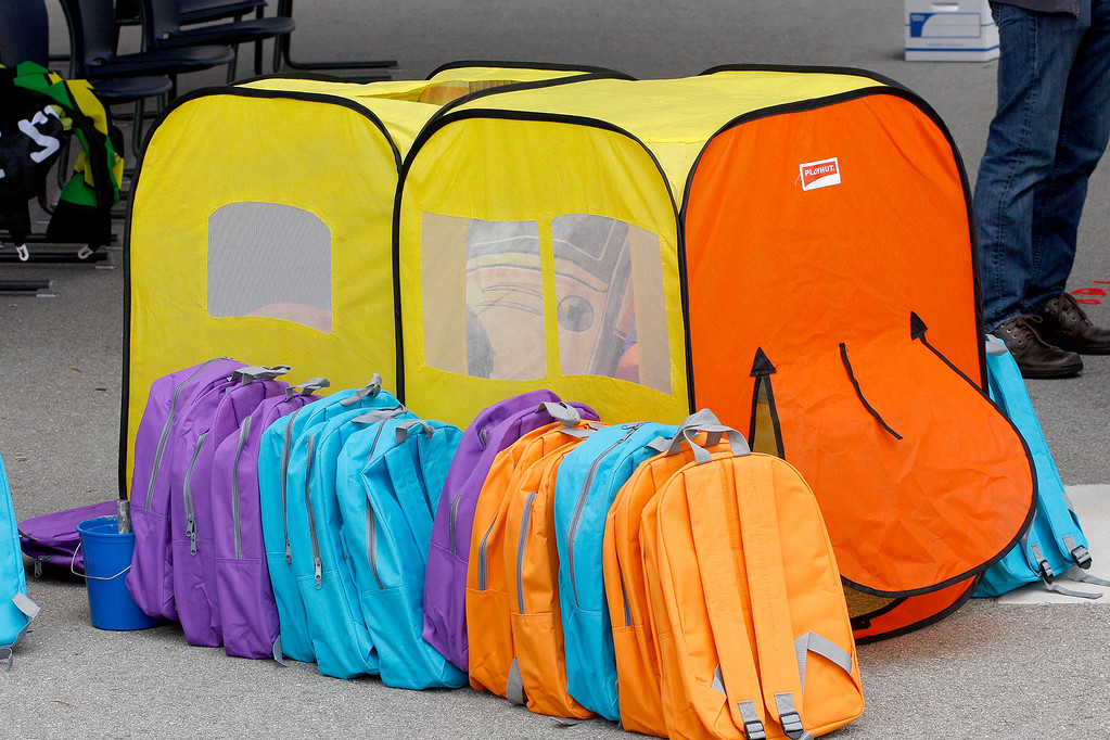 . Backpacks are lined up at Castroville Elementary School on Friday, June 23, 2017 during the Stuff the Bus campaign to give school supplies for needy students.  (Vern Fisher - Monterey Herald)
