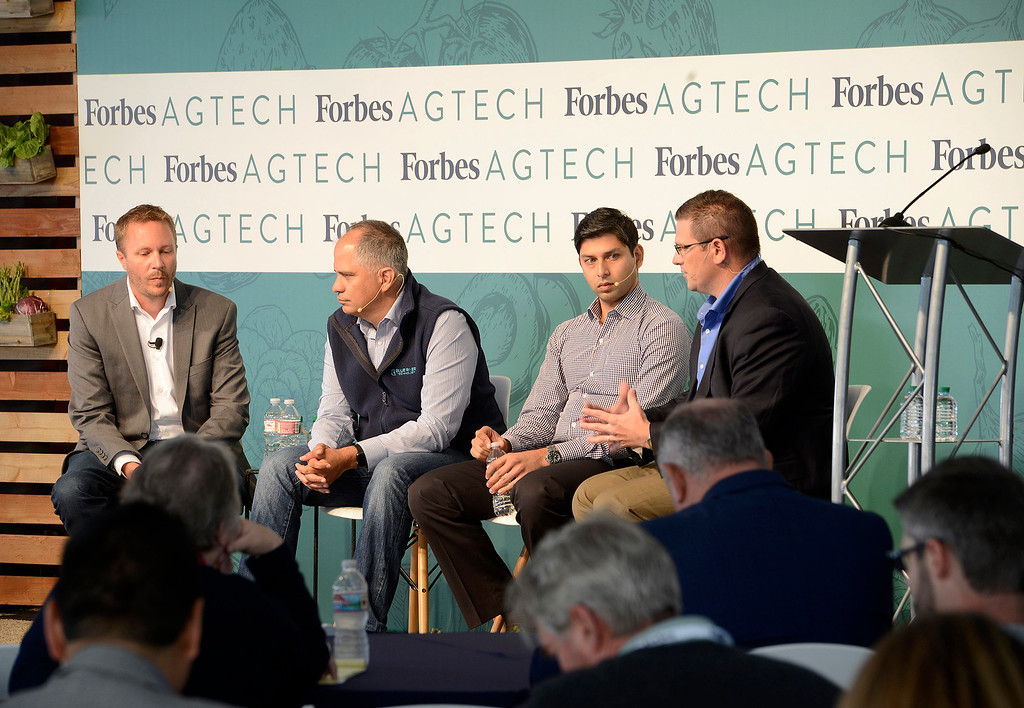 . A capacity crowd listens to a discussion on Overcoming Go-To-Market Challenges In Ag-Tech with Mark Young, Jorge Heraud, Ashwin Madgavkar and Kevin Monk at the Forbes AgTech Summit in Salinas on Thursday, June 29, 2017.  (Vern Fisher - Monterey Herald)