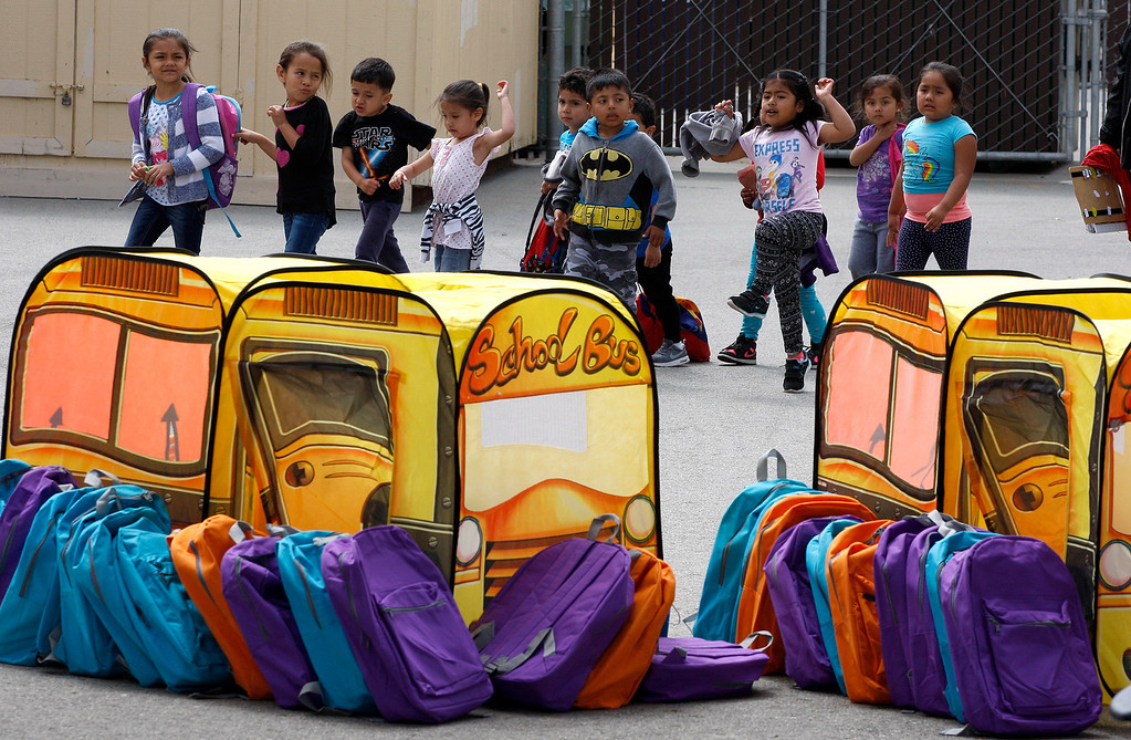 . Students at Castroville Elementary School on Friday, June 23, 2017 during the Stuff the Bus campaign to give school supplies for needy students.  (Vern Fisher - Monterey Herald)