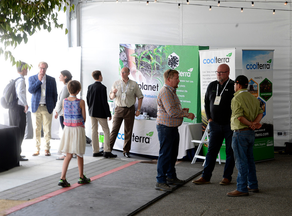 . Stimulating conversations at The Forbes AgTech Summit in Salinas on Thursday, June 29, 2017.  (Vern Fisher - Monterey Herald)