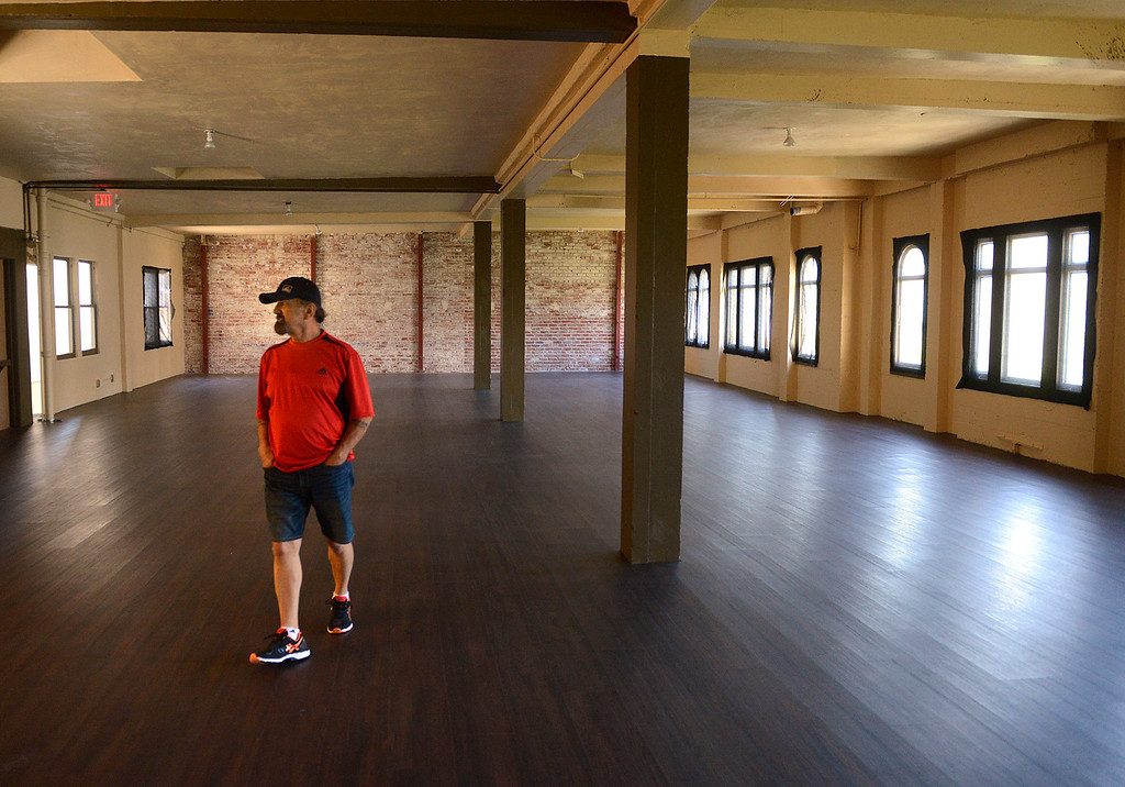 . Golden State Theater facility aid Ronald Guth walks through new rental space on the third floor of the historic building in Downtown Monterey on Friday June 23, 2017. (David Royal - Monterey Herald)