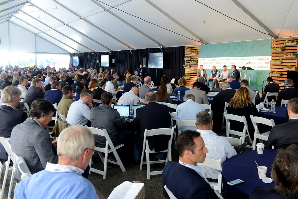 . A capacity crowd listens to a discussion on Overcoming Go-To-Market Challenges In Ag-Tech with Mark Young, Jorge Heraud, Ashwin Madgavkar and Kevin Monk at the The Forbes AgTech Summit in Salinas on Thursday, June 29, 2017.  (Vern Fisher - Monterey Herald)