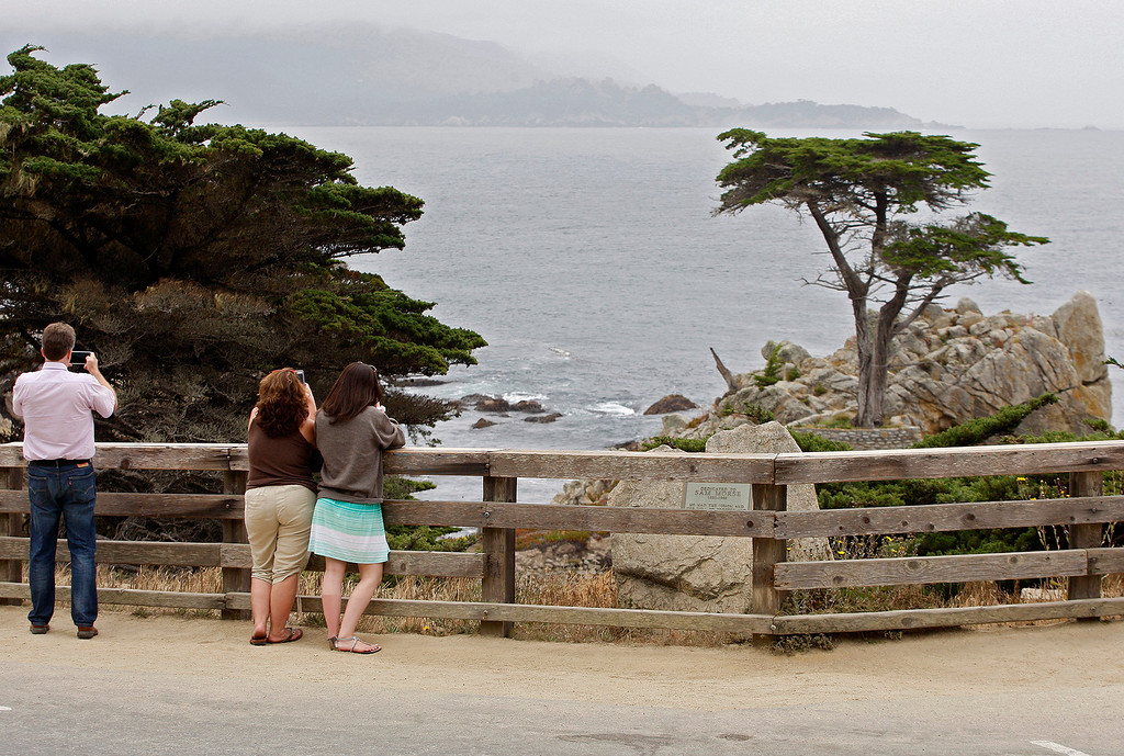 . Tourists take in the view at the Lone Cypress Tree on 17-Mile Drive in Pebble Beach on Wednesday, June 28, 2017.  (Vern Fisher - Monterey Herald)