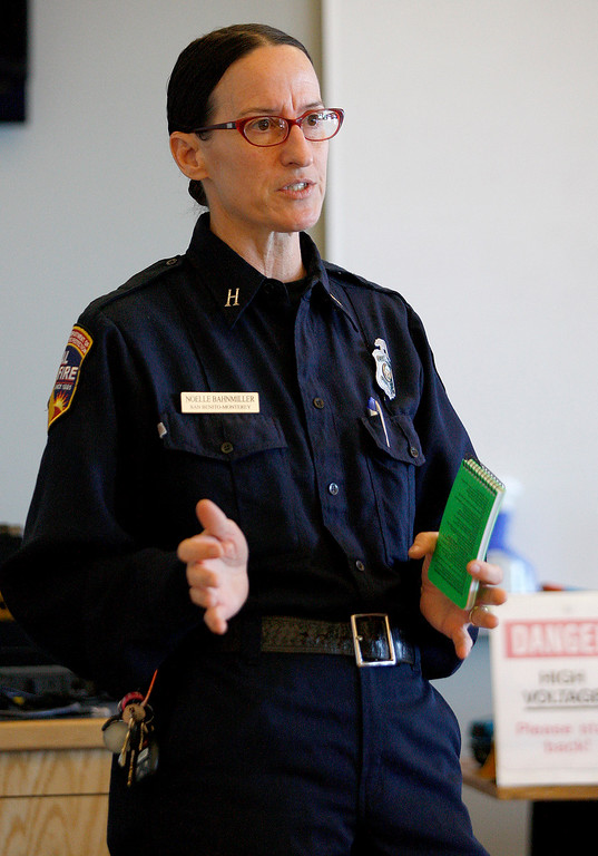 . Cal Fire captain Noelle Bahnmiller discusses fire safety rules at the Monterey Peninsula College Public Safety Training Center in Seaside on Monday, June 26, 2017.   (Vern Fisher - Monterey Herald)