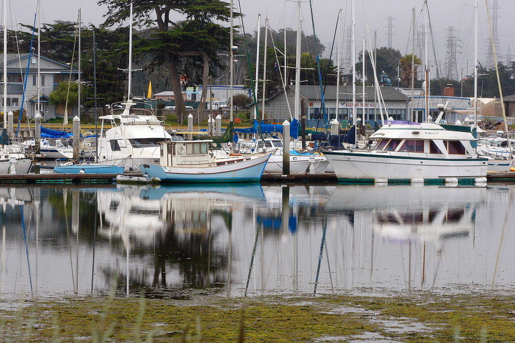 . Low tide in the Moss Landing Harbor on Monday, July 2, 2018.  (Vern Fisher - Monterey Herald)
