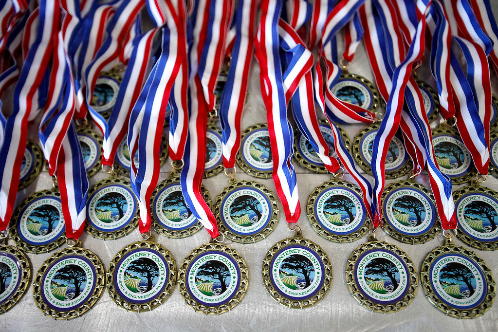 . Medals on display for winning projects at the Monterey County Science and Engineering Fair at the University Center at CSU Monterey Bay on Sunday, March 12, 2017.  (Vern Fisher - Monterey Herald)