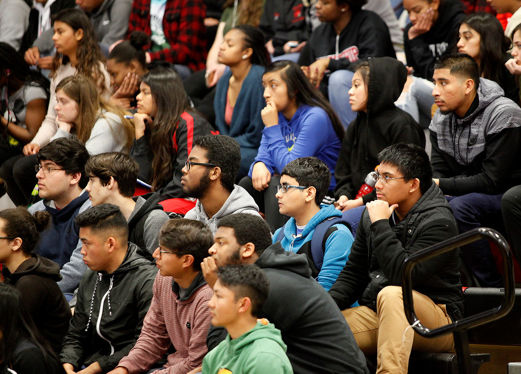 . Students listen to presenter Don Denoyer during his anti bullying presentation at Seaside High School on Friday, March 10, 2017.   The anti-bullying campaign called We All Rise Guardians (WAR) Guardians put on by California Army National Guard did several sessions for the students at Seaside High School.  (Vern Fisher - Monterey Herald)