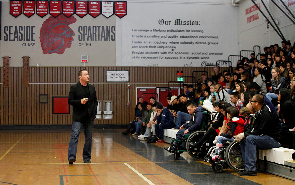 . Don Denoyer during his anti bullying presentation at Seaside High School on Friday, March 10, 2017.   The anti-bullying campaign called We All Rise Guardians (WAR) Guardians put on by California Army National Guard did several sessions for the students at Seaside High School.  (Vern Fisher - Monterey Herald)