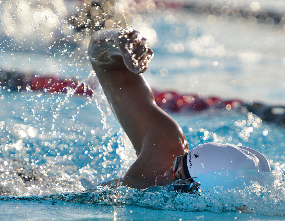 . PCS swimmer Ryan Olson swims his way to a win in the boys 500 freestyle race during their swim meet at Carmel High School on Friday March 10, 2017. Olson\'s time was 5:22.47. (David Royal - Monterey Herald)