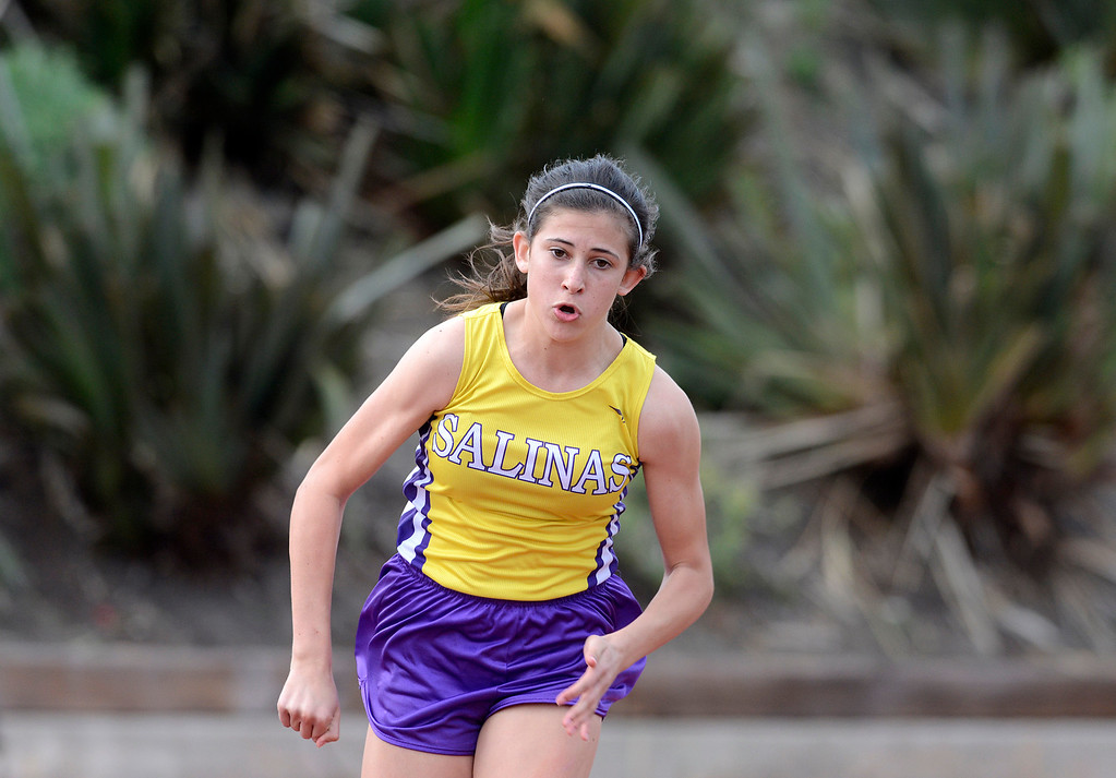 . Salinas\' Brooke Oleson takes off at the start on her way to winning the girls 400 meter race during a track meet against Alisal at Salinas High School on Thursday March 16, 2017. Oleson\'s winning time was 59:59.  (David Royal - Monterey Herald)