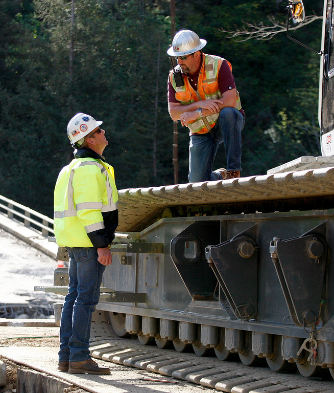 . Crews were making progress on the demolition of the storm damaged Pfeiffer Canyon Bridge in Big Sur on Thursday, March 16, 2017.  (Vern Fisher - Monterey Herald)