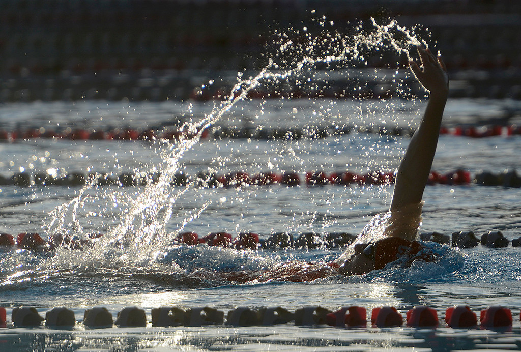 . Carmel\'s Lucy Shelley swims way to a win in the girls 100 meter back stroke during their swim meet against PCS at Carmel High School on Friday March 10, 2017. Shelley\'s time was 1:09.08. (David Royal - Monterey Herald)