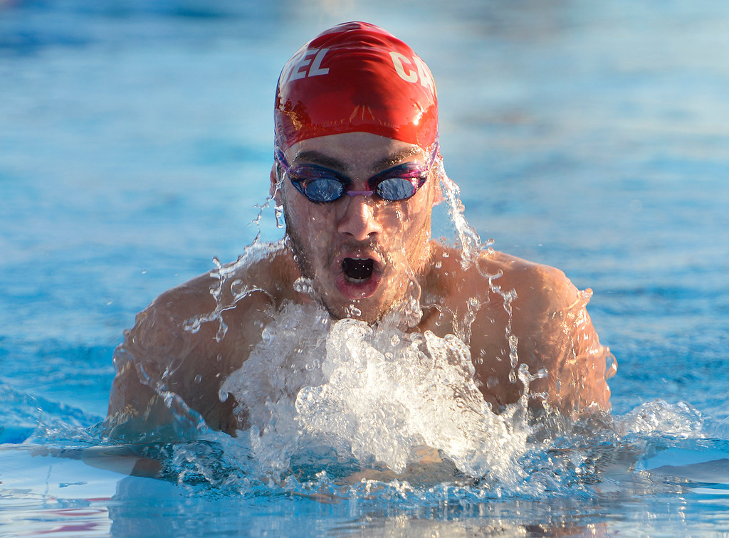 . Carmel\'s Gianluca Duros swims his way to a win in the boys 100 meter  breast stroke against PCS during their swim meet at Carmel High School on Friday March 10, 2017. Duros\' time was 1:09.40. (David Royal - Monterey Herald)