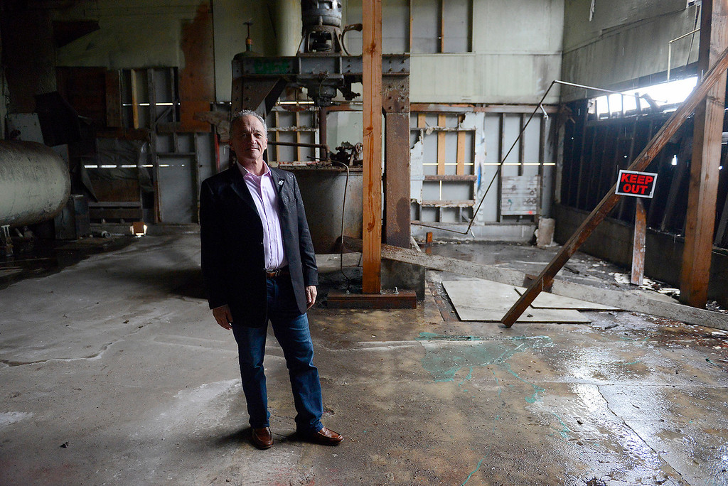 . Developer Bob Faulis at the old San Xavier Fish Reduction Plant on Cannery Row in Monterey on Tuesday, March 20, 2018.  Faulis is the new developer and plans to renovate the historic bay front property.  (Vern Fisher - Monterey Herald)