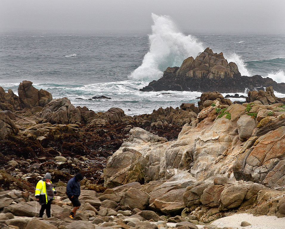 . Wind, waves and rain blast Pacific Grove near Point Pinos on Thursday, March 22, 2018.  (Vern Fisher - Monterey Herald)