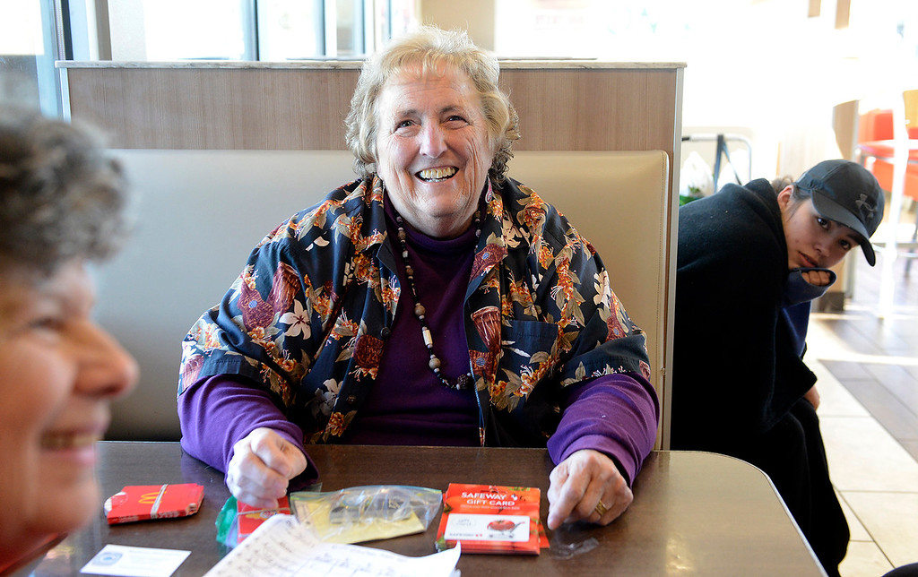 . Lois Varner meeting with homeless women at the Seaside Burger King on Monday, March 19, 2018.  (Vern Fisher - Monterey Herald)