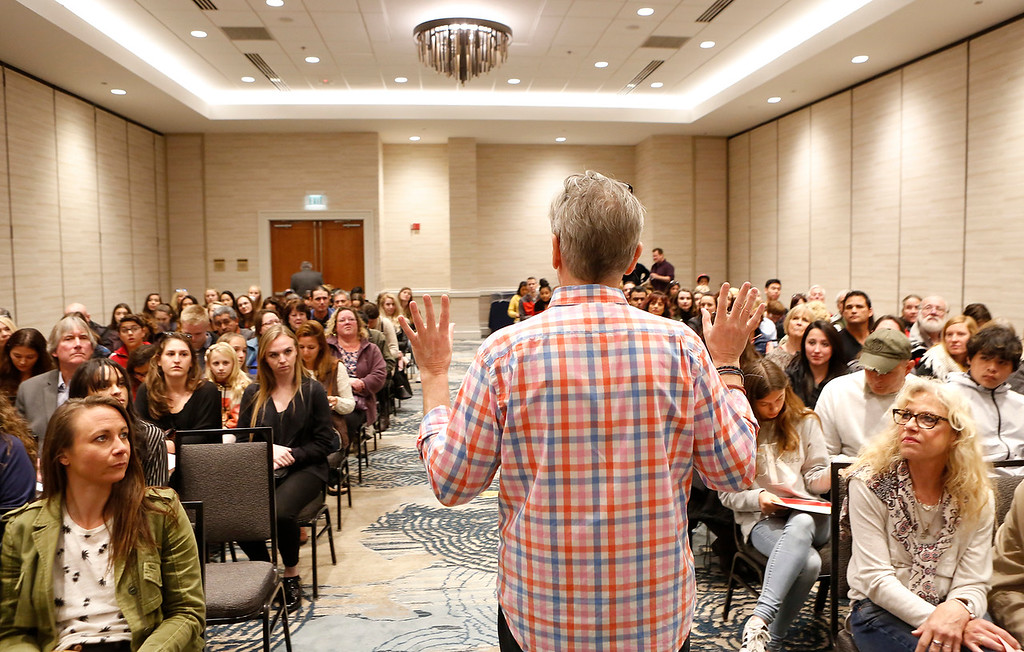 . Casting director Rich King speaks to a room filled with prospective actors during open casting for HBO\'s Big Little Lies at Embassy Suites in Seaside on Saturday March 17, 2018. The group had were at the near the end of the process of signing up after waiting in a line of thousands that went out the door, around the building and across the parking lot. (David Royal/ Herald Correspondent)