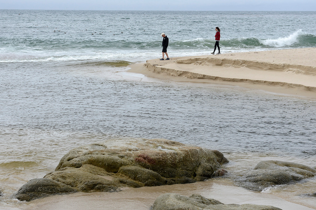 . The mouth of the Carmel River at Carmel River State Beach on Wednesday, March 21, 2018.  (Vern Fisher - Monterey Herald)