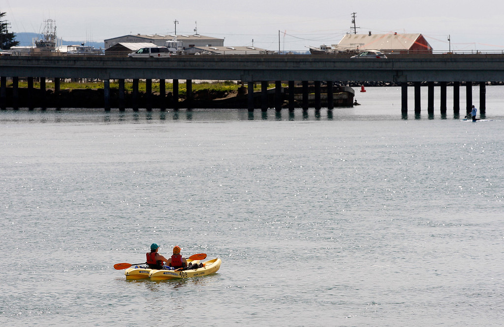 . Kayakers at Elkhorn Slough in Moss Landing on Monday, March 19, 2018.  (Vern Fisher - Monterey Herald)