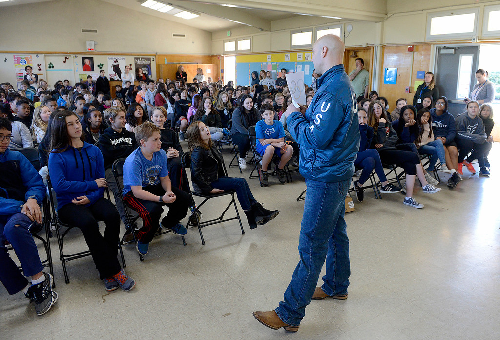 . Olympic bobsledder Nick Cunningham spoke to the Bay View Academy School in Monterey about his recent Winter Olympic experience on Monday, March 5, 2018.  (Vern Fisher - Monterey Herald)